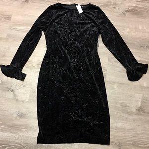 NY&C Black Velvet Burnout Pencil Dress Size Large